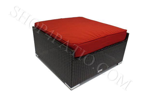 Modern Outdoor Large Ottoman in Brown Wicker