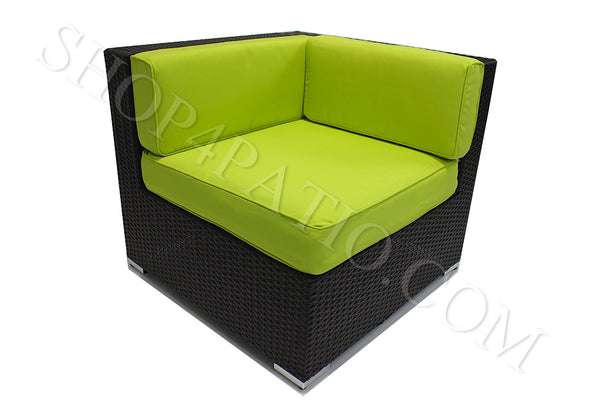 Modern Outdoor Corner Chair in Brown Wicker