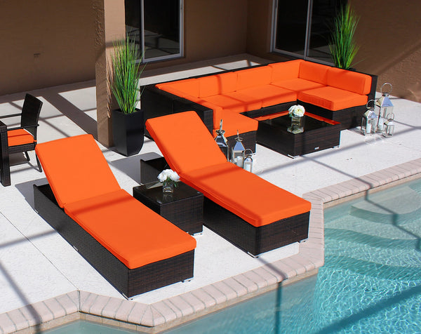 10 Piece Modern Outdoor Furniture Set in Brown Wicker - AC1001