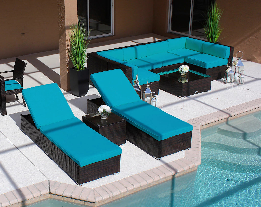 10 Piece Modern Outdoor Sectional Sofa Chaise Lounge Chair Set ...