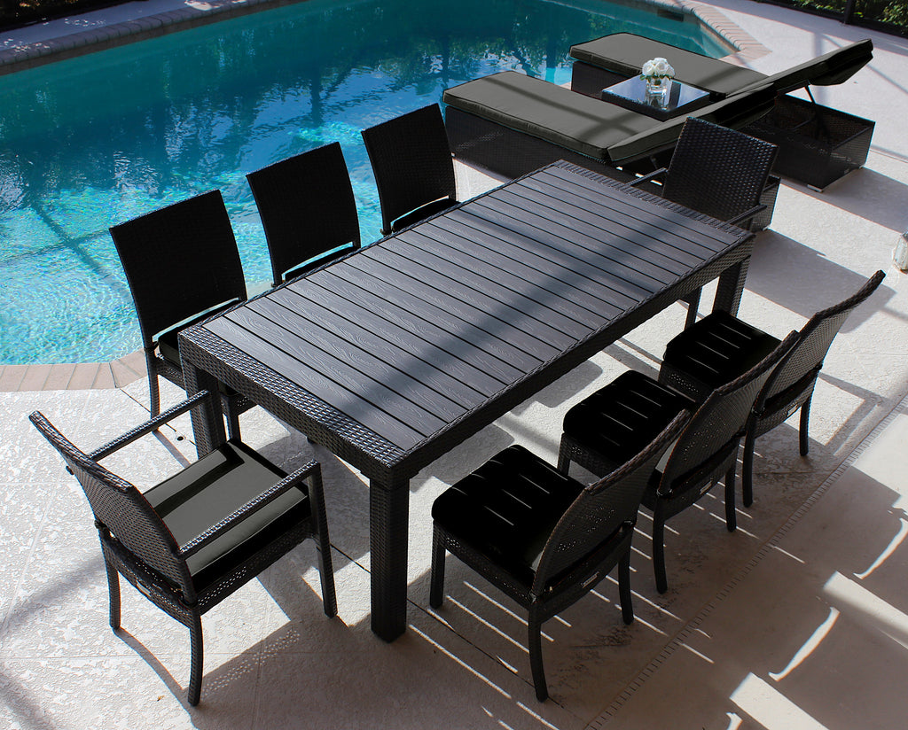 AKOYA Wicker Collection. 9 Piece Outdoor Wicker Dining Table ...