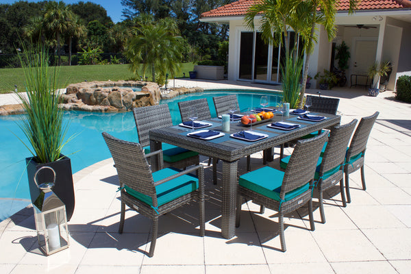 9 Piece Modern Outdoor Dining Set in Gray Wicker