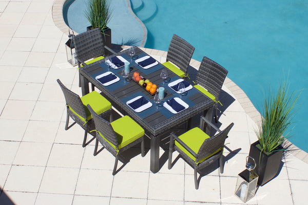 7 Piece Outdoor Dining Table Set in Gray Wicker