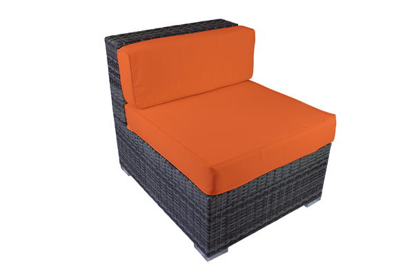 Modern Outdoor Armless Chair in Gray Wicker