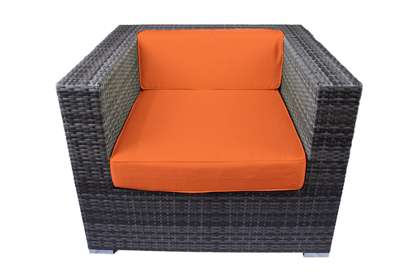 Modern Outdoor Armchair in Gray Wicker