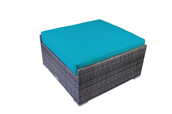 Modern Outdoor Large Ottoman in Gray Wicker