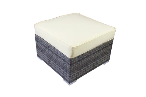 Modern Outdoor Small Ottoman in Gray Wicker
