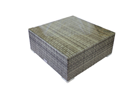 Modern Outdoor Coffee Table in Gray Wicker