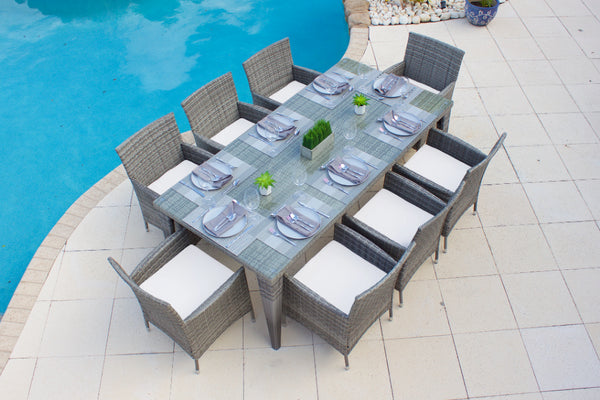 Nico 9 Piece Rectangular Outdoor Dining Table Set In Gray