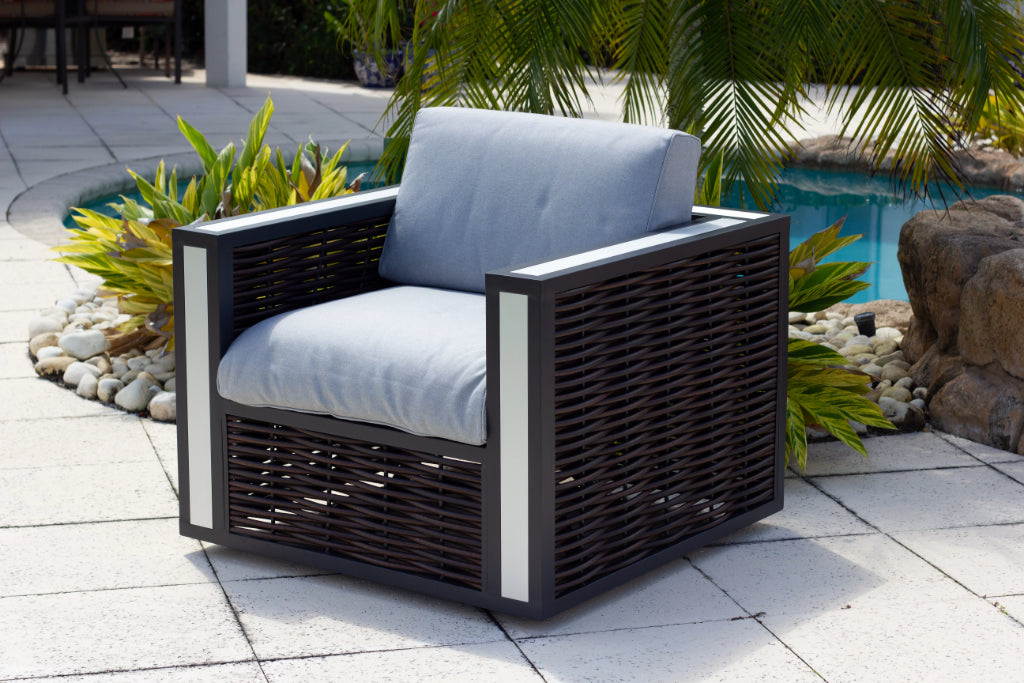 Pleasing Modern Outdoor Patio Swivel Chair With Cushions In Brown Pabps2019 Chair Design Images Pabps2019Com