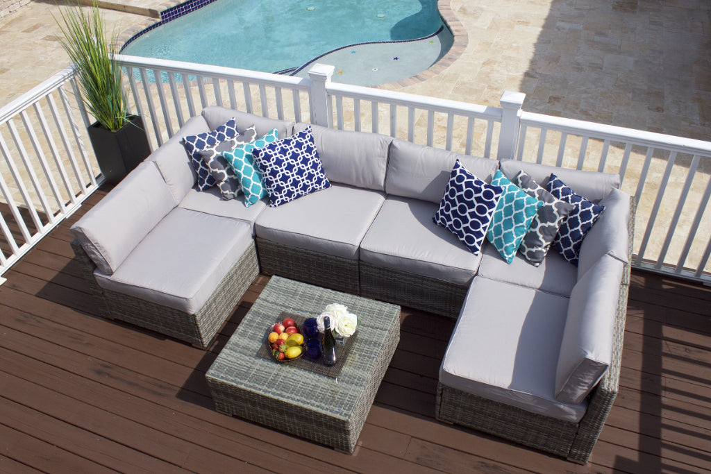 7 Piece Modern Outdoor Sectional Sofa Set In Gray Wicker
