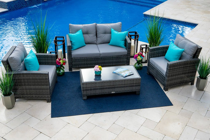 Bari 4 Piece Outdoor Conversation Sofa Set in Mixed Gray