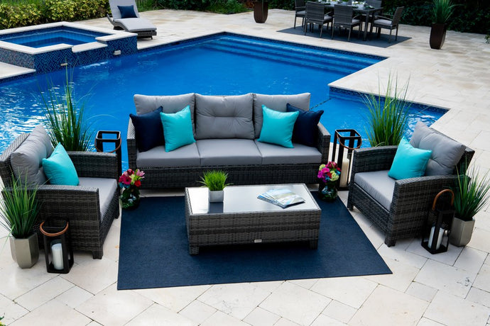 Bari 4 Piece Outdoor Conversation Sofa Set (L) in Mixed Gray