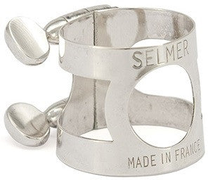 "SELMER ""PARIS"" BASS CLARINET LIGATURE, SILVER PLATED"