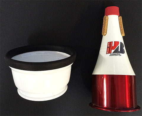 STONELINED TRUMPET ADJUSTABLE CUP MUTE, RED/WHITE ALUMINUM
