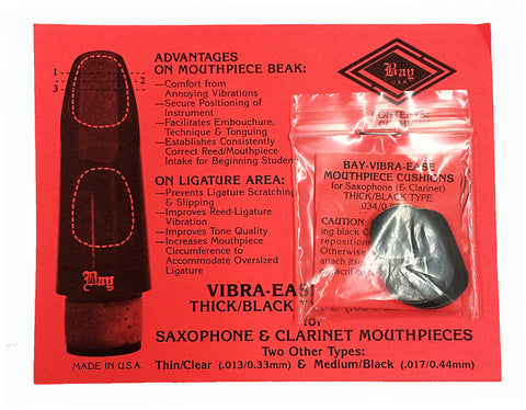 VIBRA-EASE MOUTHPIECE CUSHION, THICK BLACK RUBBER, PACKAGE OF 4