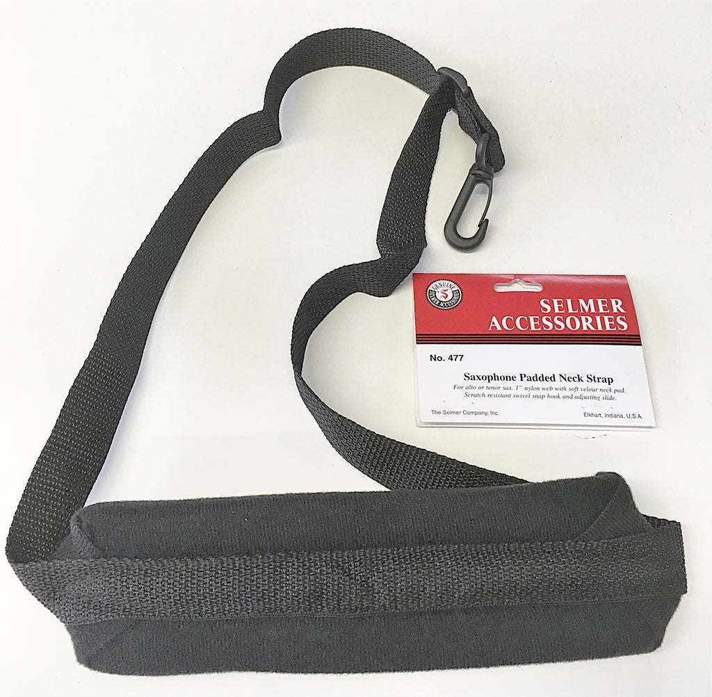 SELMER PADDED NECK STRAP, VELOUR NECK PAD, PLASTIC SWIVEL SNAP HOOK
