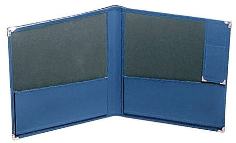 "DELUXE CONCERT FOLIO, BLUE LEATHER, 12"" X 14"", PENCIL HOLDER"