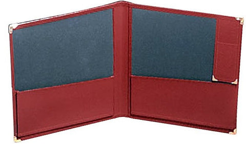 "DELUXE CONCERT FOLIO, RED LEATHER, 12"" X 14"", PENCIL HOLDER"