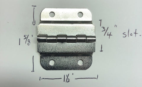 HINGE FOR MOLDED CASE, VALANCE SLOT, NICKEL PLATED