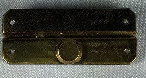 LARGE SLIDE-BUTTON LATCH, BRASS, RIGHT SIDE