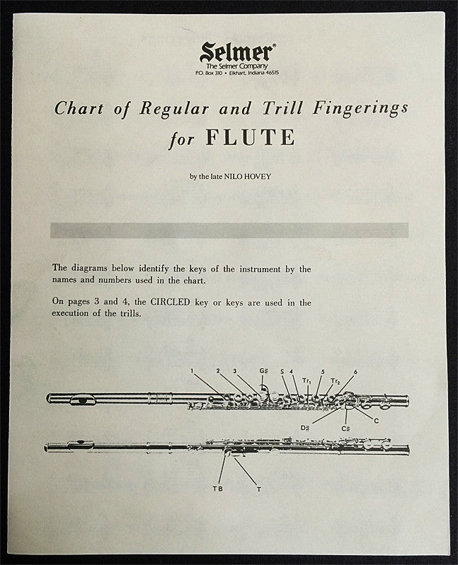 REGULAR & TRILL FINGERING CHART FOR FLUTE