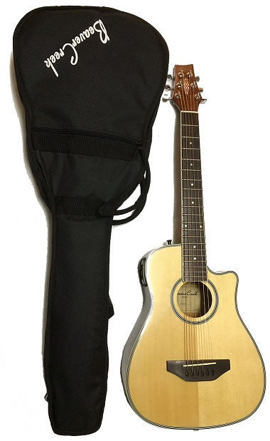 BEAVER CREEK ACOUSTIC/ELECTRIC TRAVEL SIZE GUITAR, NATURAL W/ BAG
