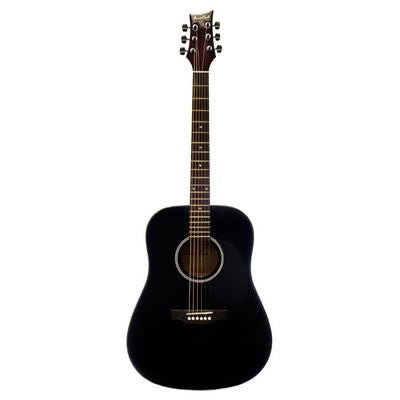 BEAVER CREEK 101 SERIES ACOUSTIC DREADNOUGHT GUITAR, BLACK W/BAG