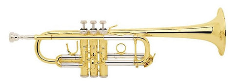 "BACH ""STRADIVARIUS"" TRUMPET, KEY OF C, .462"" BORE, # 239 BELL, CLEAR LACQUER FINISH, WOOD CASE"
