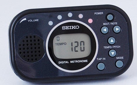 "SEIKO DIGITAL ""TAP-IN"" METRONOME, RHYTHM PATTERNS, LED DISPLAY"