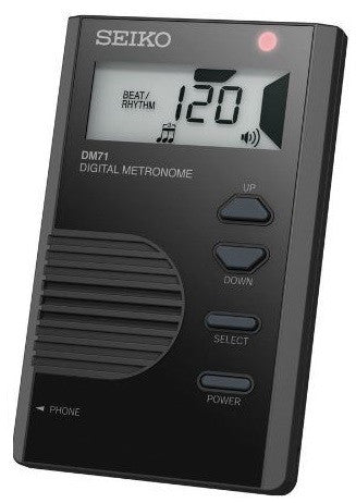 SEIKO DIGITAL POCKET-SIZE METRONOME, BUILT-IN STAND, LCD DISPLAY, BLACK
