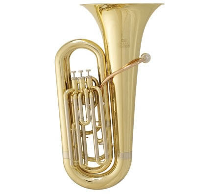 "ANDREAS EASTMAN TUBA, 3/4-SIZE MODEL, 661"" BORE, 3 UPRIGHT VALVES,14-3/8"" UPRIGHT BELL, CLEAR LACQUER FINISH, ABS CASE WITH WHEELS"