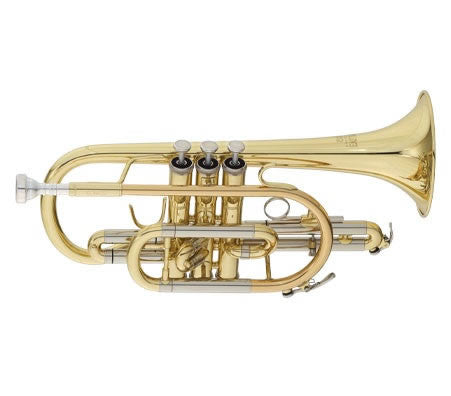 "ANDREAS EASTMAN CORNET, .460"" BORE, SHEPHERD'S CROOK BELL, CLEAR LACQUER FINISH, GIG CASE"