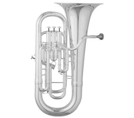 "ANDREAS EASTMAN EUPHONIUM, .610"" BORE, .630"" 4TH VALVE BORE, COMPENSATING, 12"" UPRIGHT BELL, SILVER PLATED FINISH, ABS CASE"