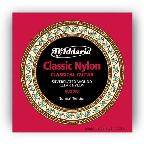 D'ADDARIO CLASSICAL GUITAR STRING SET, SILVER-PLATED / NYLON STRINGS, NORMAL TENSION