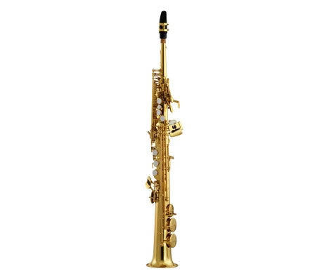 ANDREAS EASTMAN SOPRANO SAX, 1PC. BODY WITH CURVED NECK, HIGH F#, GOLD LACQUER FINISH, GIG STYLE CASE