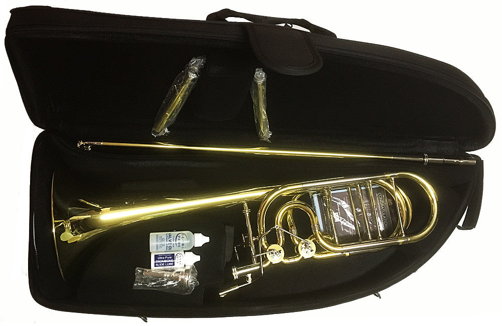 "ANDREAS EASTMAN BASS TROMBONE, .562"" BORE,  9.5"" YELLOW BRASS BELL, OPEN WRAP, DBL. INDEPENDENT ROTARY VALVES, 3 LEADPIPES, CLEAR LACQUER FINISH, SOFT CASE"