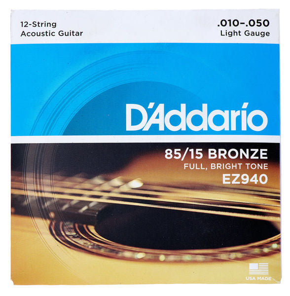 85/15 A. BRONZE ACOUSTIC GUITAR STRING SET, LIGHT, for 12 STRING