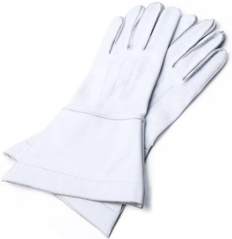 GAUNTLET WHITE LEATHER GLOVES