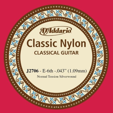 "1.09MM ""E"" CLASSIC, CLASSICAL GUITAR SINGLE STRING, SILVERPLATED WOUND"