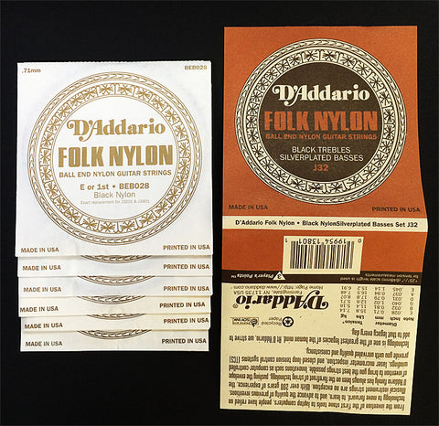 NYLON FOLK GUITAR STRING SET, SILVERPLATED/BLACK NYLON  Discontinued Item - Limited Quantities