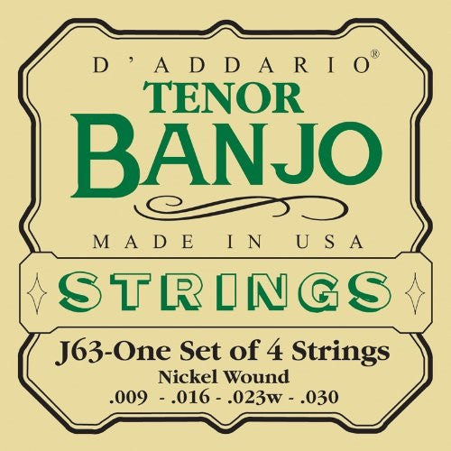 D'ADDARIO TENOR BANJO STRINGS, SET OF 4, NICKEL WOUND