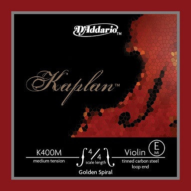 "KAPLAN ""GOLDEN SPIRAL"" 4/4 VIOLIN ""E"" STRING, MED., LOOP END"