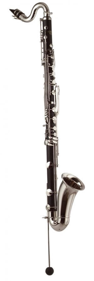"LEBLANC BASS CLARINET, .945"" BORE, 1-PC RESONITE BODY, LOW E FLAT ON BODY,NICKEL PLATED KEYS, WOODEN CASE"