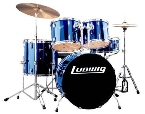 "LUDWIG ""ACCENT DRIVE "" 5PC. DRUM SET,  W/ HARDWARE, BLUE"