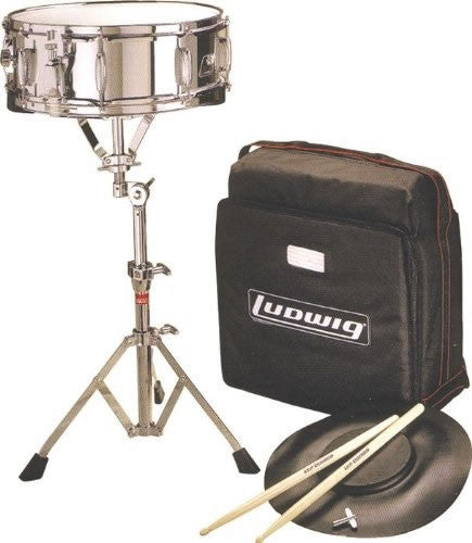 LUDWIG SNARE DRUM KIT, WITH LR719 SNARE, L381 PAD, STAND, STICKS & BACKPACK BAG