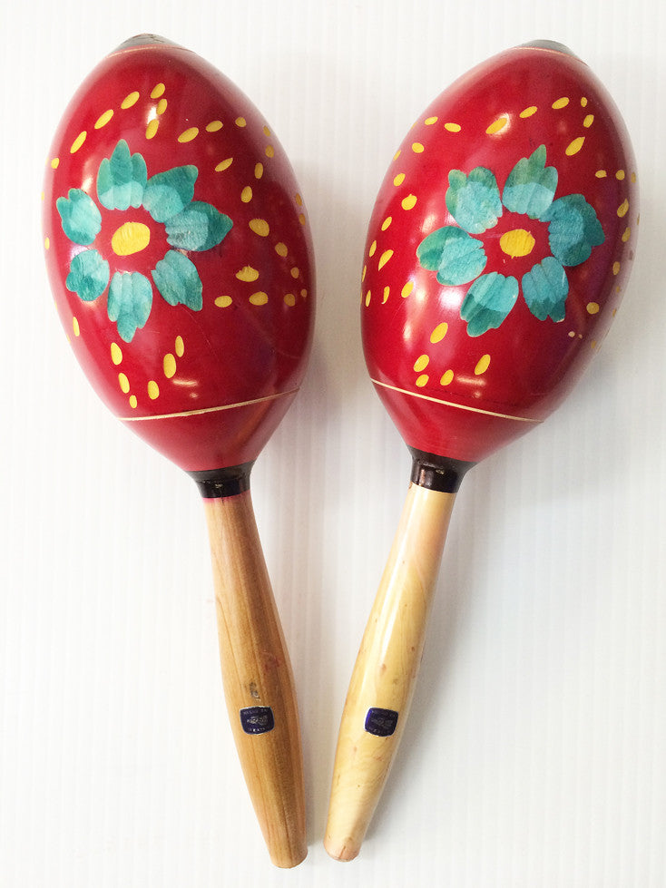 AUTHENTIC MEXICAN WOODEN MARACAS, LARGE