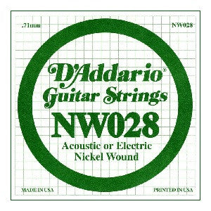 ".71MM ""D"" ACOUSTIC OR ELECTRIC GUITAR SINGLE STRING, NICKEL WOUND"