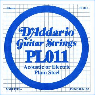 ".28MM ""E, B, D, G"" ACOUSTIC OR ELECTRIC GUITAR SINGLE STRING, PLAIN STEEL"