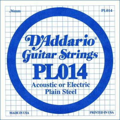 ".36MM ""E, B, D"" ACOUSTIC OR ELECTRIC GUITAR SINGLE STRING, PLAIN STEEL"